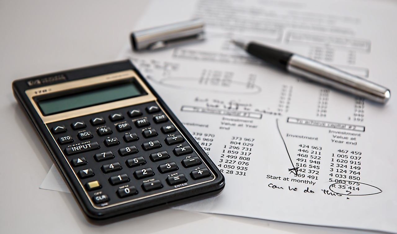 Calculator on page of financial numbers